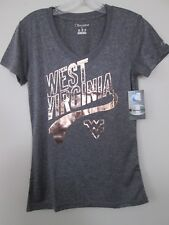 West Virginia Mountaineers Womens V-Neck T-Shirt Heather Gray Small