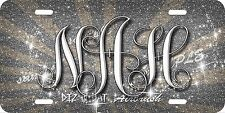 Monogram Initials Glitter Airbrush License Plate Silver design Car Auto Tag