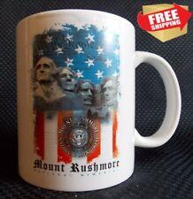 Mount Rushmore Souvenir Coffee Mug Americana Red White Blue - Free Shipping!