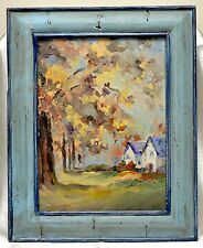 Vintage Beautiful Homes by Large Trees Oil Painting in 2-Tone Blue Decor Frame