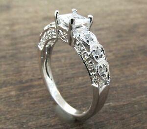 18K White Gold Antique Nouveau Diamond Engagement Ring Setting **ONLY $590**