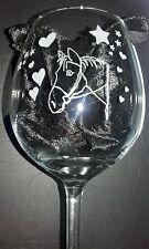 LARGE WINE GLASS HAND ENGRAVED Horse  BIRTHDAY WEDDING ANNIVERSARY GIFT
