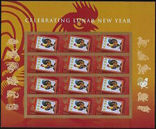 12 Mint Lunar New YEAR OF THE ROOSTER STAMPS Roosters Chicken Chickens Chinese