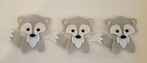 X3  Grey Felt Fox Embellishments. Die cuts. Animal  die  cuts