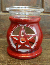 Pentagram Design Red Soapstone Oil Burner - BNIB