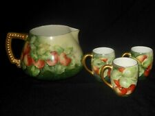 T&V LIMOGES HAND PAINTED CIDER JUG PITCHER THREE CUPS APPLES AND FOLIAGE 1892