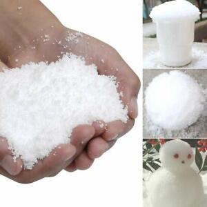 Magic Snow powder. Fluffy Instant Xmas. Artificial Christmas Decoration Fake.