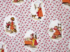 VINTAGE HOLLY HOBBIE FABRIC QUILTING MATERIAL  COTTON AMERICAN GREETINGS 2 yards