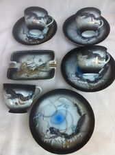 9 pc. Dragon Ware From Japan, 4 Demitasse And Saucers, 1 Ashtray. Gray And Blue