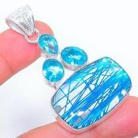"Blue Rutile Quartz, Blue Topaz Ethnic Jewelryr Jewelry Pendant 2.2"" AK-3290"
