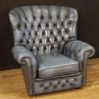 Poltrona inglese sedia seduta salotto mobile in pelle design stile antico 900