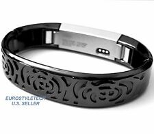 Black Metal Flowers Design Band For Fitbit Alta Wristband Stainless Bracelet