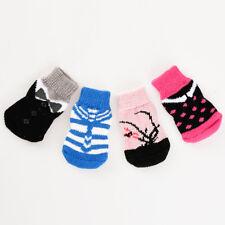 4 Pcs Animal Chaussette Coton Anti-dérapant Sock Anti Slip Pr Chiot Chien Cadeau