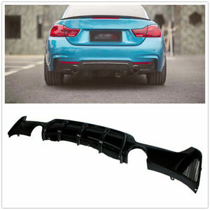 Rear Bumper Diffuser Dual Exhaust Tip For 2014+ BMW F32 F33 4 Serie Glossy BLK M