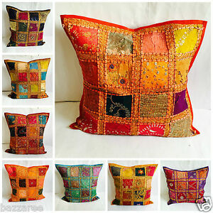 24x24 Large Indian Patchwork Sari Ethnic Vintage Cushion Cover Covers Tapestry