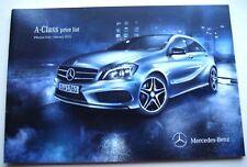 Mercedes . A Class . Mercedes A Class Price List . January 2013 Sales Brochure