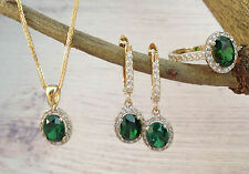 Emerald green jewelry set, matching gold necklace earrings ring, cubic zirconia