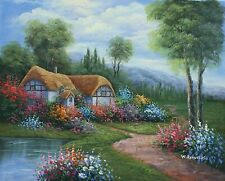 """16""""x 20"""" Oil Painting on Canvas, Country Cottage, Genuine Hand Painted"""