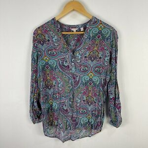 Esprit Womens Top 10 Multicoloured Paisley Long Sleeve V-Neck