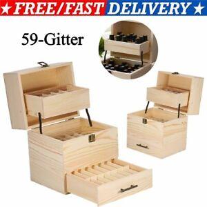 3-Tier Tragbar Aufbewahrungsbox Atherisches Öl Holzkoffer Behälter Sortierbox