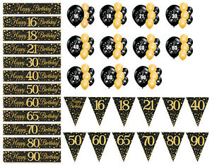 AGE 16 18 21 30 40 50 60 65 70 80 90 BANNER BUNTING BALLOONS, GOLD AND BLACK