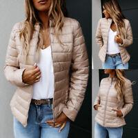 Womens Collar Puffer Padded Jacket Winter Warm Lightweight Bubble Coat Outwear