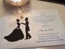 50 Personalised Silhouette Royal Wedding day evening Invitations free envelopes