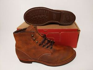 RED WING MEN'S  3343 BLACKSMITH 6' COPPER ROUGH LEATHER BOOTS SIZE: 9.5
