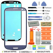 Samsung Galaxy S3 Front Glass lens Screen Replacement Repair Kit Blue + UV Glue