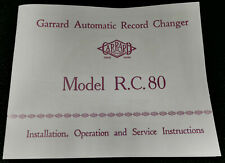 More details for garrard rc80 automatic record changer 1950's instruction manual user guide