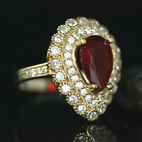 925 Sterling Silver Handmade Gemstone Turkish Ruby Ladies Ring Size 7-12