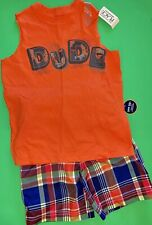"""NEW! """"DUDE"""" Boys 2 Pc Tank Shirt Swimsuit Shorts Outfit Set 4T 4 XS SUMMER GIFT!"""