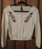 Beautiful Dangerfield White Sugar Skull, Bird & Floral Embroidery Cardigan - 12