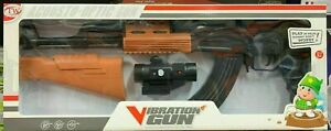 Machine GUN KIDS TOY LARGE AK-47 LIGHTS FIRING SOUND VIBRATION TELESCOPIC 85CM
