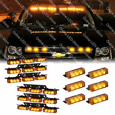 54x & 18x LED Personal Vehicle Truck Grille Deck Warning Strobe Light Set-AMBER
