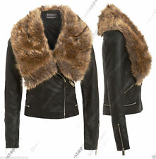 Waist Length Faux Leather Outdoor Coats & Jackets for Women