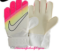 NEW NIKE GK JR MATCH SOCCER GLOVES IN Youth Size 5 White/Pink/Orange/Yellow