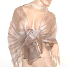 STOLA beige tortora donna 50% seta velata foulard coprispalle scialle maxi A80