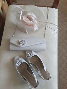 Jacques Vert Bag, Fascinator & Shoes 8 41 grey/neutral worn once wedding/races