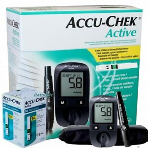 Accu-Chek Active Glucometer For Blood Glucose Measurement With 10 Test Strips