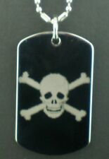 HALLOWEEN JOLLY ROGER Skull and Cross Bones  Dog Tag Pendant Necklace