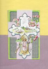 Lovely GIRL, UMBRELLA, RURAL CHURCH On Colorful Vintage EASTER Postcard