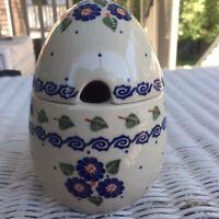 Boleslawiec Polish Pottery Egg Shaped Lidded Sugar Jam Bowl, Flowers, Poland