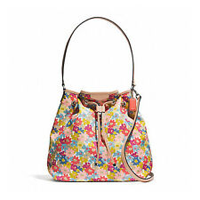 Paypal Coach Bag F28922 Signature Stripe Floral Print Shoulder Bag Agsbeagle COD