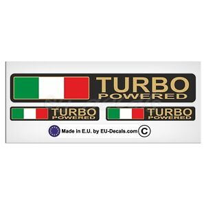 Set Turbo Powered Italian flag Gold letters Laminated Decal Sticker fiat abarth