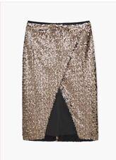 Mango Gold Sequin Wrap Slit Pencil Skirt Size Small / 8