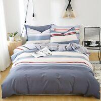 100%Cotton Striped Quilt/Duvet/Doona Cover Set Double Queen King Size Bedding AU