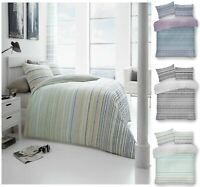 Luxury ANDREA STRIPE Printed Reversable Duvet Cover+Pillow Case Bed Set All Size