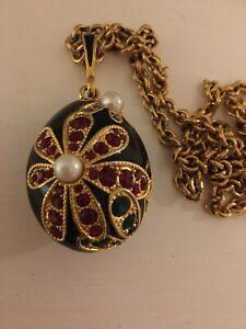 Rare Vintage Nina Ricci Enamel And Rhinestone Pendant Necklace