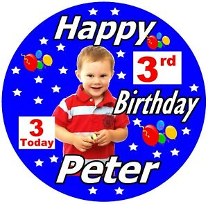BOYS BIG PERSONALISED BIRTHDAY BADGE, NAME, AGE, PHOTO, COLOUR & THEME, GIFTS